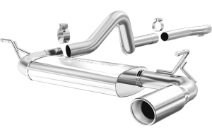 MagnaFlow 07-11 2dr JK MF Series 2.5in Cat Back Single Outlet Polished Tip Stainless Exhaust (16666)